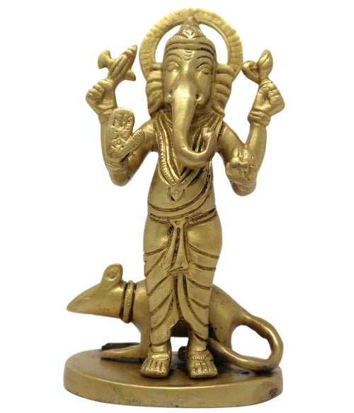 Lord Ganesha Standing with Mouse Idol Brass Metal Statue Murti for Puja Mandir 5x2.75x2 inches; 565 Grams
