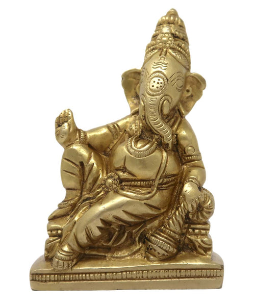 God Ganesha Sitting with Pillow and Giving Blessing Hindu for Home Mandir Decoration 3.5x2.25x1.25 Inch; 320 Gram