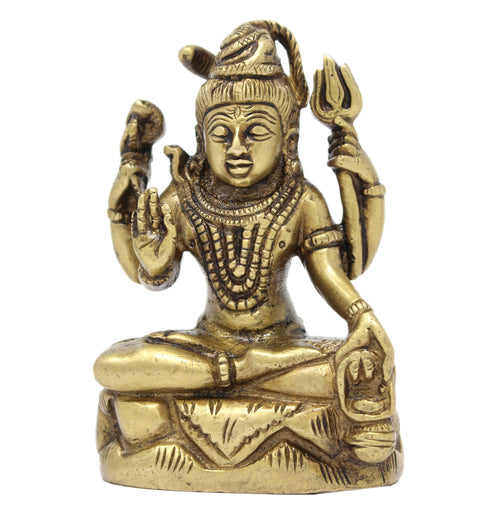 Hinduism Decoration Shiva Statue Brass Indian Art Spiritual Gifts 3.75x2.75x1.5 Inches; 520 Grams