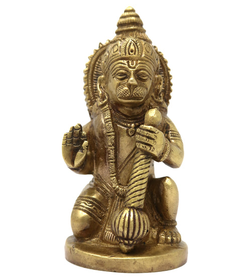 Hindu God Hanuman Murti Brass Sculpture for Puja Mandir Home Décor Size: 4.5x2.25x1.75 Inch