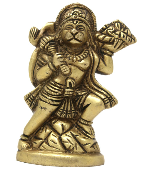 Brass Metal Idol Hanuman Statue Hindu Puja and Decorations Home Office Mandir 4x2.75x1.25 inches; 520 Grams