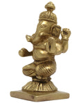 Lord Ganesha God of Well Being Brass Metal Idol Statue for Puja at Home or Office Mandir 3.5x2x1.5 inches 275 Grams