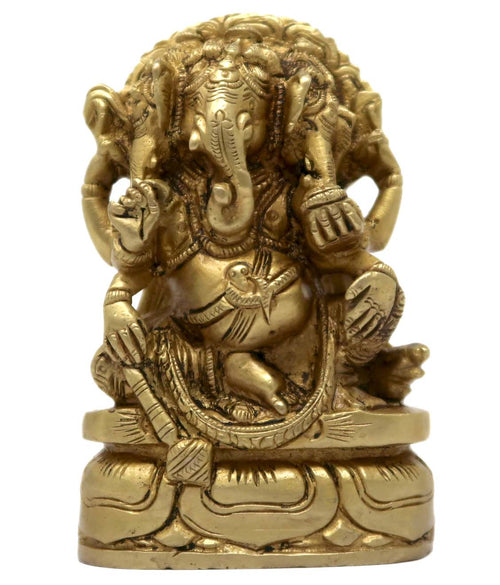God Ganesha Sitting on Base with Three Face Hindu Decor for Home Mandir Decoration 4.25x2.5x1.25 Inch; 745 Gram