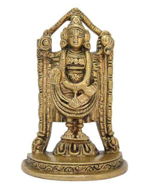 Brass Statue Balaji Idol Hindu God for Puja at Home and Office Mandir Size: 3.75x2.5x1.5 Inch