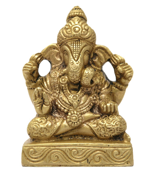 Lord Ganesh Sitting Shah Coil Trunk Hindu Decor Diya for Diwali Decorations 3x3.25x1.75 Inches; 325 Gram