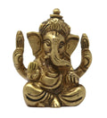 Small Ganesha with Big Ears Idol Brass Metal Statue for Home Office and Car Decor 2x1.75x0.75 Inch; 135 Grams