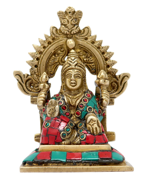 ShalinIndia Goddess Laxmi Seated on Throne Colourful Brass Statue for Puja Mandir 3.75x2.75x1.75-Inches, 245 g