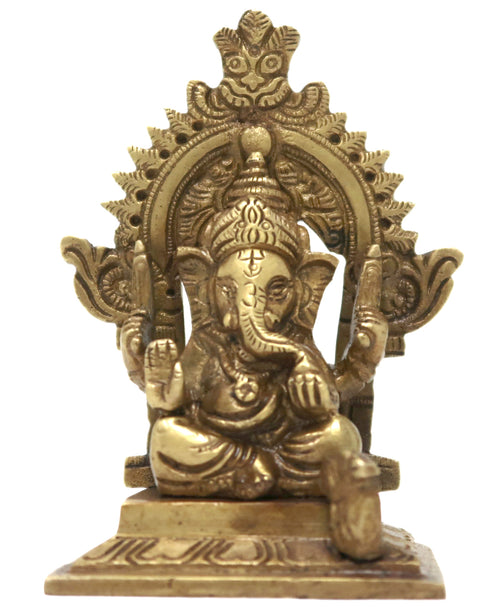 Lord Ganesh Sitting On Throne Hindu Decor Diya for Diwali Decorations 4x2.75x1.75 Inches; 260 Gram