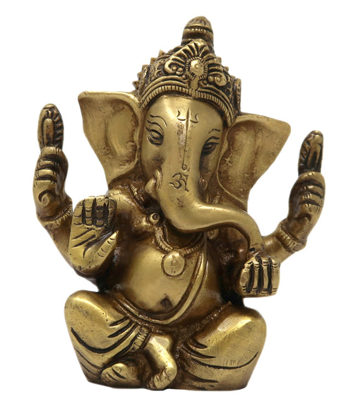 Sitting Ganesha Small Statue Brass Metal Sculpture for Home Office and Car Decor 4.5 x 3.5 x 1.25 inches 630 Grams