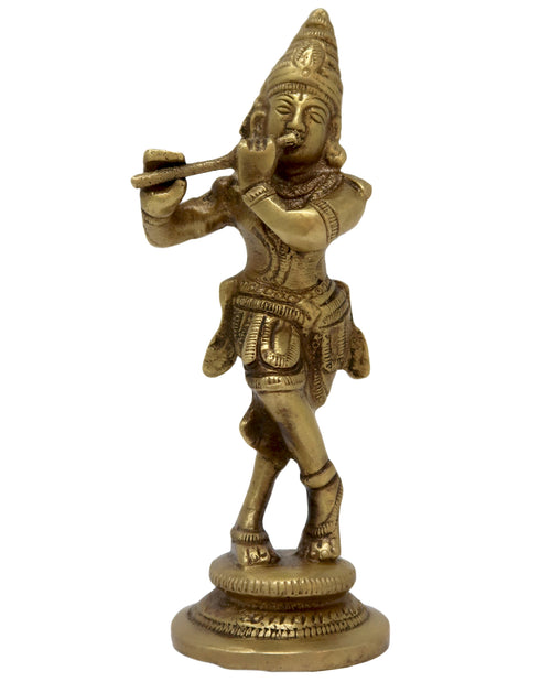 Brass Statue Krishna Idol for Puja Home Decoration and Gift Size: 4.75x1.5x1.5 Inch