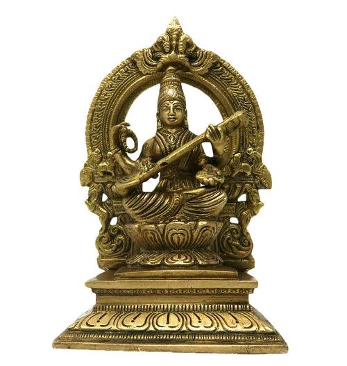 Brass Saraswati Maa Sculpture Hindu Goddess of Knowledge Music Art Religious Gift Idols for Home Decor Puja Mandir Temple