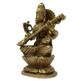 Idols for Gift Hindu Goddess Sitting Maa Saraswati Brass Murti Religious Gift for Home Decor Puja Mandir Temple