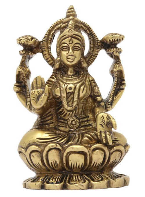 ShalinIndia MATA Laxmi Brass Statue Sculpture for Home Temple (3.5x2x0.75 Inch)