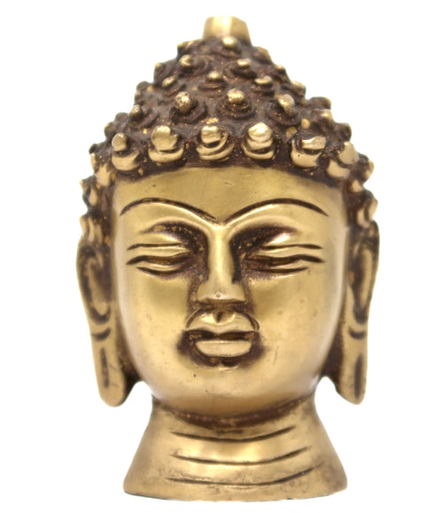 Buddhist God Lord Buddha Head Brass Statue Sculpture Buddhism Belief Figurines 3x1.2x1 Inch; 310 Grams