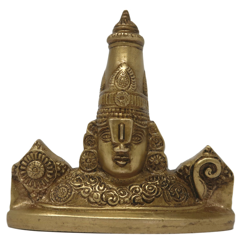 Brass Sculpture Balaji Idol Hindu God for Puja at Home and Office Mandir Size: 3.25x3.5x0.75 Inch