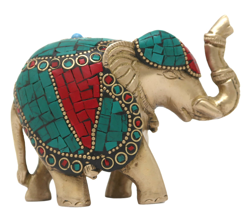 Brass Standing Trunk Up Elephant Statues Showpiece Statue with Stone Work Lucky Figurine Home Décor Gifts Item