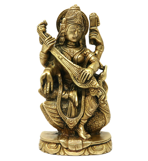 Statue for Home Decor Puja Goddess of Knowledge Music Art Maa Saraswati Sitting On Swan Brass Idols Sculpture Religious Gifts