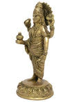Shalinindia Unique Sand Casted Brass Metal Statue of Hindu God Dhanvantari 8x3.5x3.35 Inch; 1.14 Kg