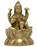 ShalinIndia Brass Goddess Laxmi Seated on Lotus Hindu Deity Idol for Puja (2.25x1.5x1 Inch, 115 g)
