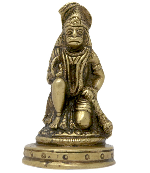 Hindu Deity Hanuman Idol Brass Statue for Puja Mandir Car Desktop 3x1.5x1.5 inches; 170 Grams
