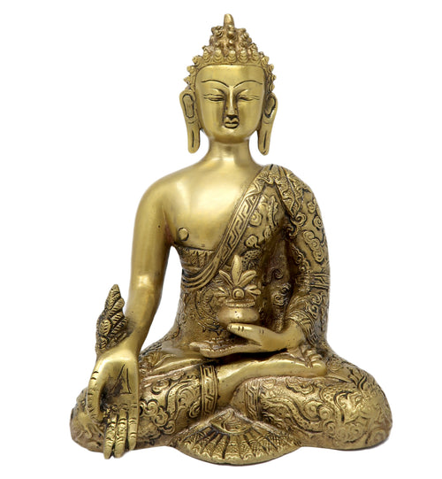 Medicine Buddha Statue Brass Idol Sculpture for Home Decor Size: 10x6.5x4 Inch