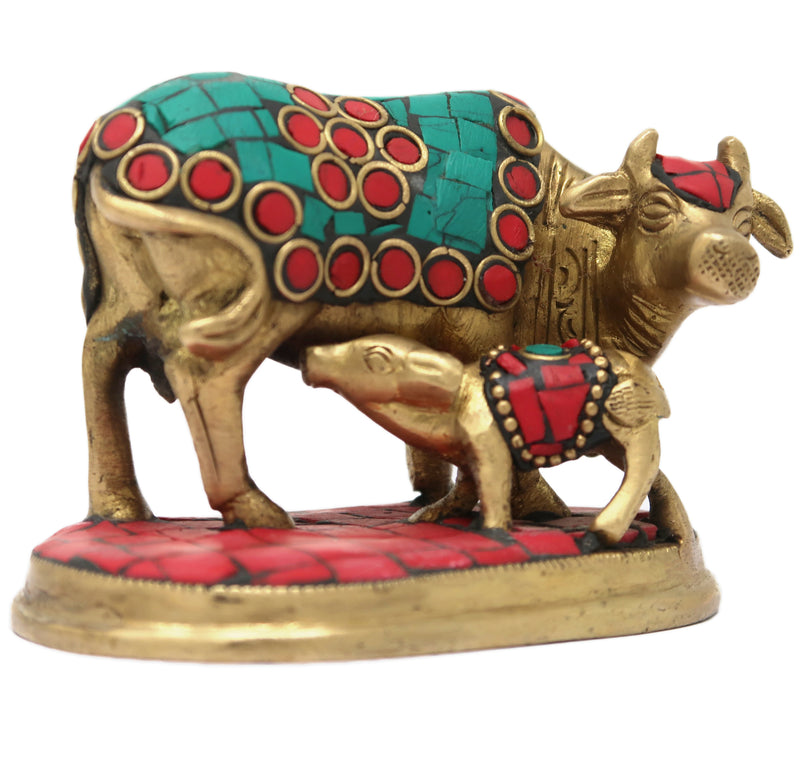 ShalinIndia Holy Cow and Calf with Stone Work Brass Statue for Home Decor, 2.5x3.25x2.25-Inches, 400 g