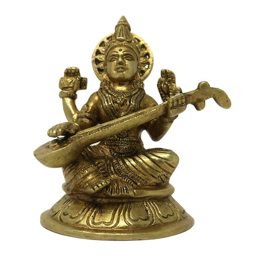 Brass Saraswati Idols for Home Decor Sitting On Lotus Religious Hindu Goddess Statue for Puja at Office Home Mandir