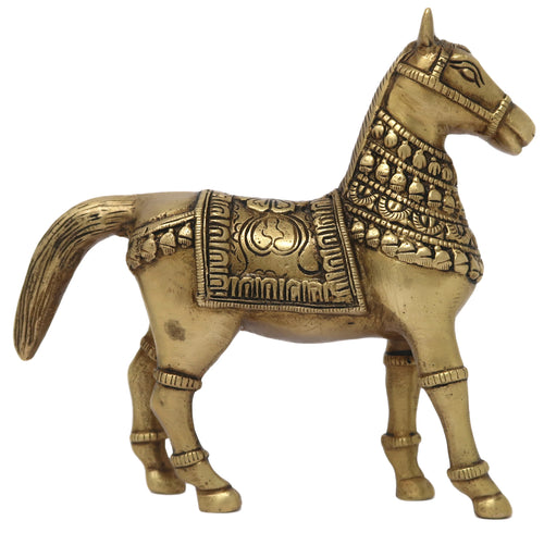 Animal Figurine Horse Decor Sculpture Art Brass Ornament Best Gifts Ideas Size: 6.5x6x1.5 Inch