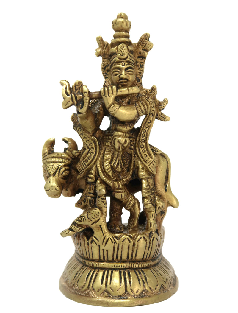 Bhagwan Shree Krishna Idol with Cow Playing Murli Brass Statue Size: 4.25x2x1.5 Inch