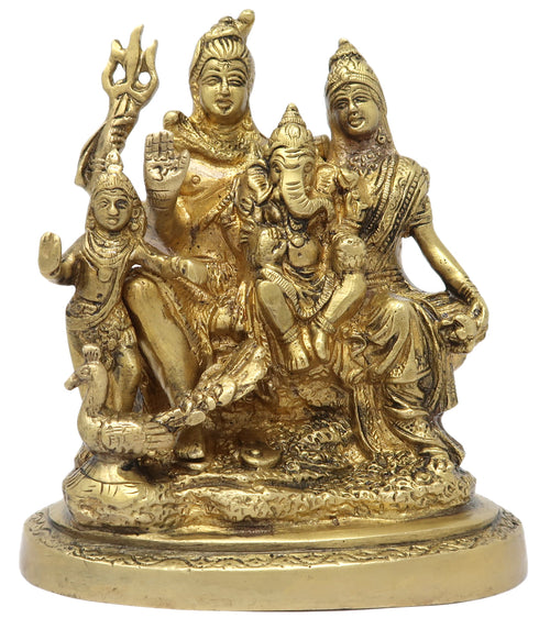 Hindi Deity Shiva Faimly Idols Figuirne Brass Statue Puja Home Décoration Size: 6.25x5x3 Inch