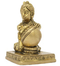 Bala Krishna Stealing Butter Brass Metal Statue for Hindu Home Decorations 3x2.25x2 inches 360 Grams