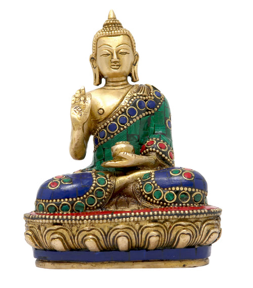 Lord Buddha Brass Statue Sitting on Lotus Giving Blessing with Colorful Stone Work 3.5x3x2 Inch; 100 Grams