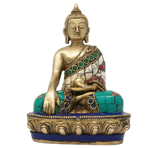 ShalinIndia Lord Buddha Dhyan Mudra Buddhist Decor Brass Sculpture with Colourful Stone Work 5.5 x 3.25 x 2-Inches, 810 g