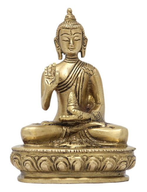 ShalinIndia Lord Buddha Sitting and Giving Blessing with Hand Brass Statue Sculpture 4.75 x 3 x 1.75-Inches, 415 g