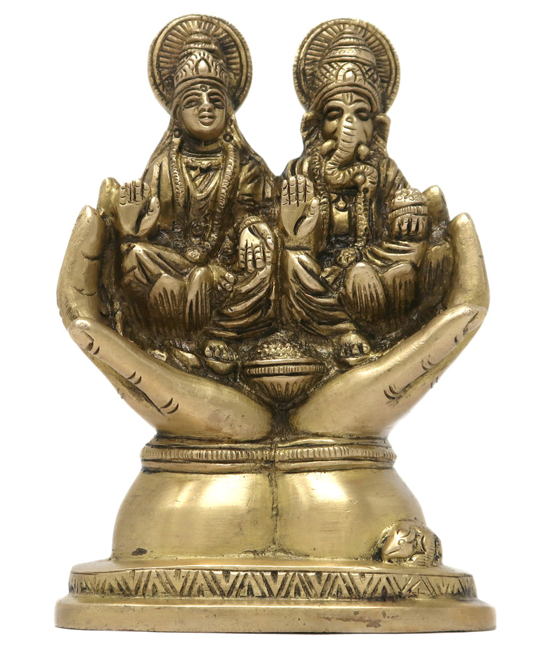 Lord Ganesha and Goddess Laxmi Seated on Palm Hindu Art and Sculpture for Home Decor 5.5x3.5x2 inch; 750 Grams