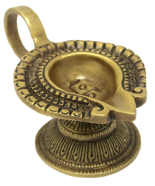 ShalinIndia Brass Swastik Diya Oil Wick Lamp for Home Temple Mandir (1.5 x 4 x 2.25-Inches, 200 Gms)