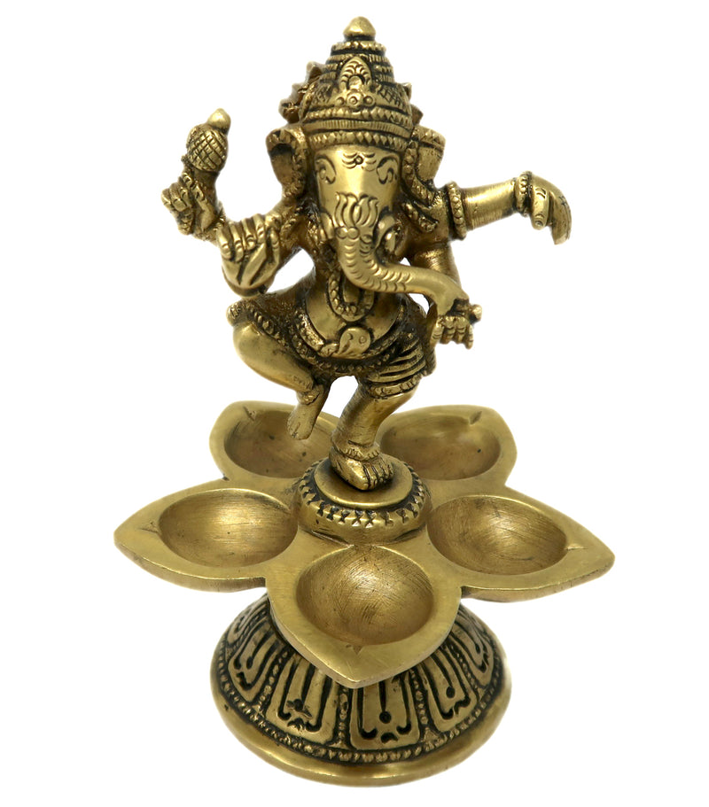 Dancing Ganesha with Five Diyas for Puja Brass Sculpture Hindu Religious Wick Lamp Size: 5.5x3.5x2.25 Inch