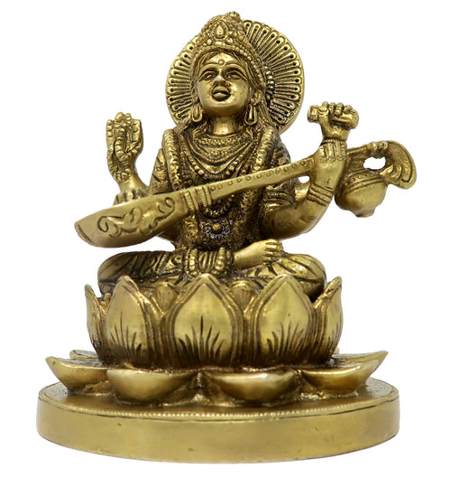 Goddess of Learning and Knowledge MATA Saraswati Statue Sitting On Lotus Religious Sculpture Murti Brass Figurene for Pooja