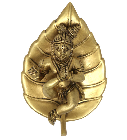 Baby Krishna on Leaf Wall Hanging Brass Metal Sculpture Art for Home Decorations 6x3.5x1 Inch; 790 Grams