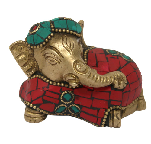 Brass Elephant Sitting Folded Trunk Statues Showpiece Metal Statue with Stone Work Lucky Figurine Home Decor Gifts Item