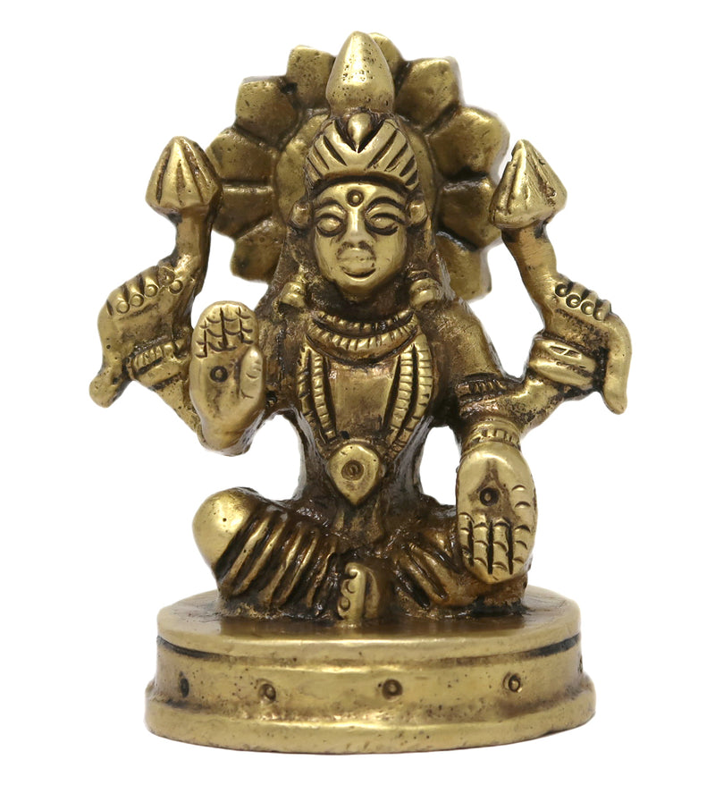 Statue Goddess Laxmi Seated on Round Base Hindu Deity Idol for Puja Mandir 2.75x1.8x1.8 inches; 245 Grams