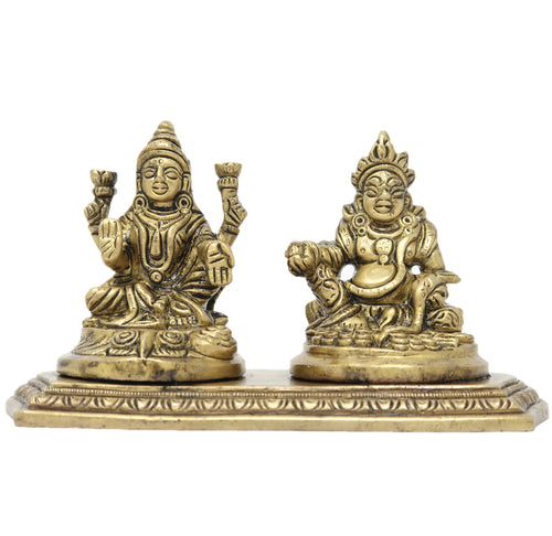 Laxmi Kuber Idol Sitting on Brass Base Metal Statue for Diwali Puja and Hindu Home Decorations 3.5x6x3 inches; 925 Grams