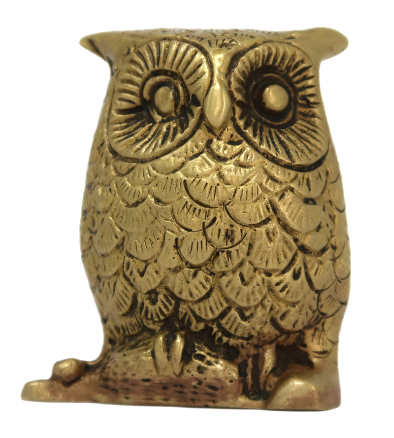 Brass Figurine of an Owl Seated on a Perch Statue Sculpture for Home Decor Size: 3x2.25x1 Inch