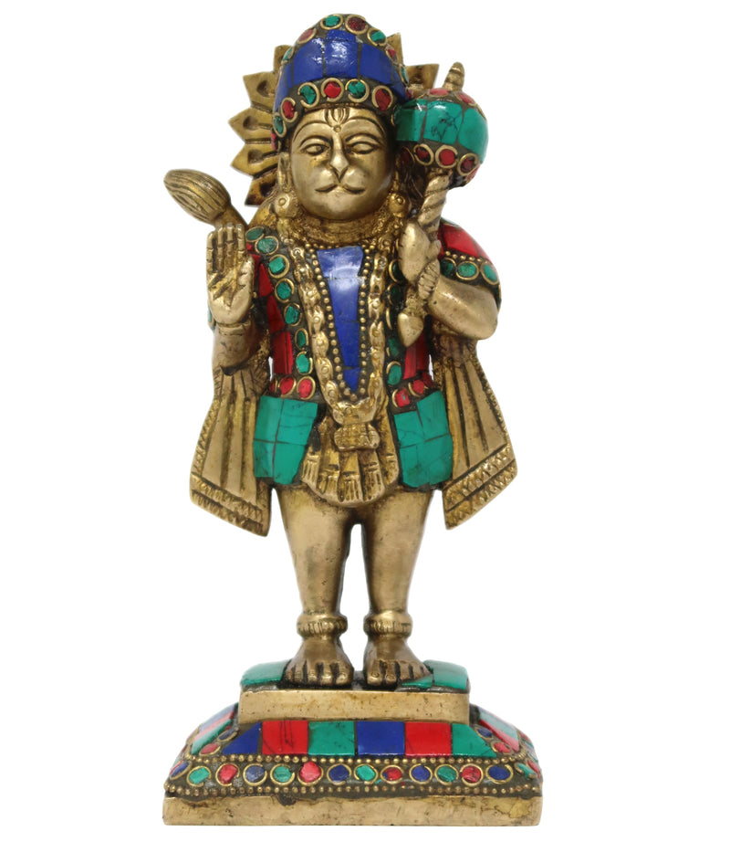 Hindu God Shree Hanuman Brass Statue Sculpture for Puja Mandir Size: 6.5x3x2.25 Inch