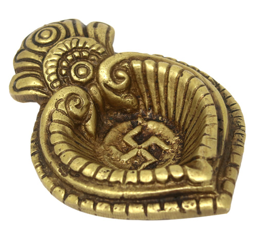 Lakshmi and Ganesha Sculpture Diya for Diwali Puja and Aarti at Home Mandir 0.5x3.5x2.5 Inches; 165 Grams