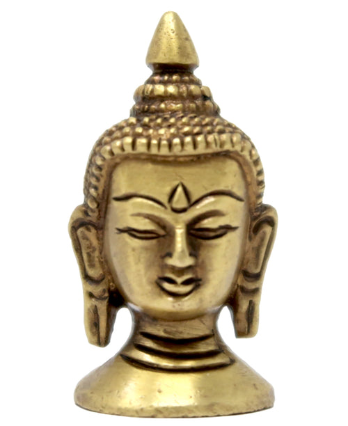 Buddhist God Lord Buddha Head Brass Sculpture Buddhism Belief Figurines 2x1x1 Inch; 100 Grams