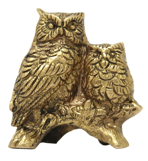 Brass Figurine Bird Owl Wahan of Goddess Laxmi for Home Décor Size: 3x2.75x1.5 Inch