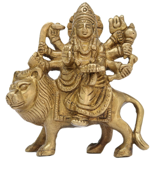Deity Durga Idol Brass Statue for Puja at Home and Office Mandir Size: 3.5x3x1 Inch