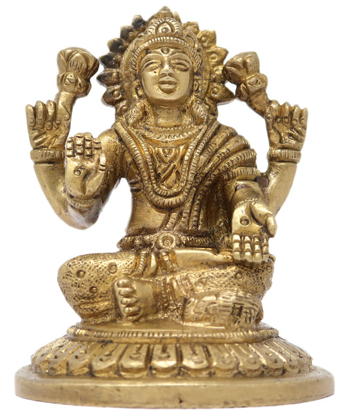 Goddess Maa Laxmi Devi Deity Brass Statue Sculpture for Home Temple Décor Size: 3.5x2.75x2.75 Inch
