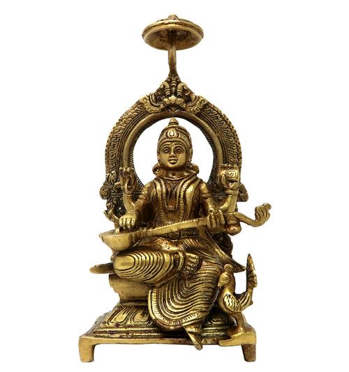 Brass Idols for Home Decor Ma Saraswati Sitting On Throne Religious Hindu Goddess Statue for Puja at Office Home Mandir